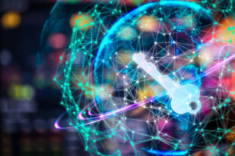 Cyber security concept businessman Lock on digital screen, contrast, virtual screen with a consultant doing presentation in the background Closed Padlock on digital, cyber security, key
